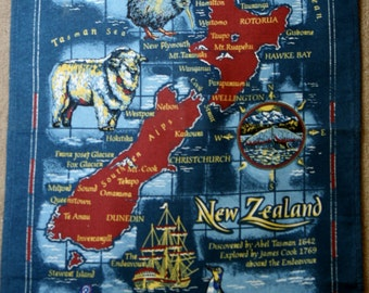 New Zealand Retro tea towel