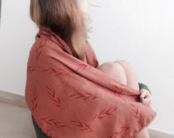 Handprinted cotton scarf / stole Orange
