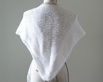 Hand knitted white shawl, White cotton summer shawl, White and brown shawl, Summer scarf, Cotton scarf, #T054