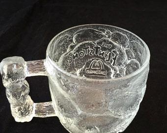 The Flintstones Clear Mug, McDonalds 1993 RocDonald Rocky Road Flintstones Coffee Cup Rock Handle Promotional Stone Glass, Hanna Barbera