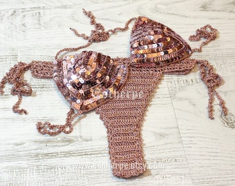 Rose Gold Sequin Crochet Brazilian Bikini Women Swimwear Two-Pieces Bathing Suit Swimsuit Summer Fashion Beach Fashion EXPRESS SHIPPING