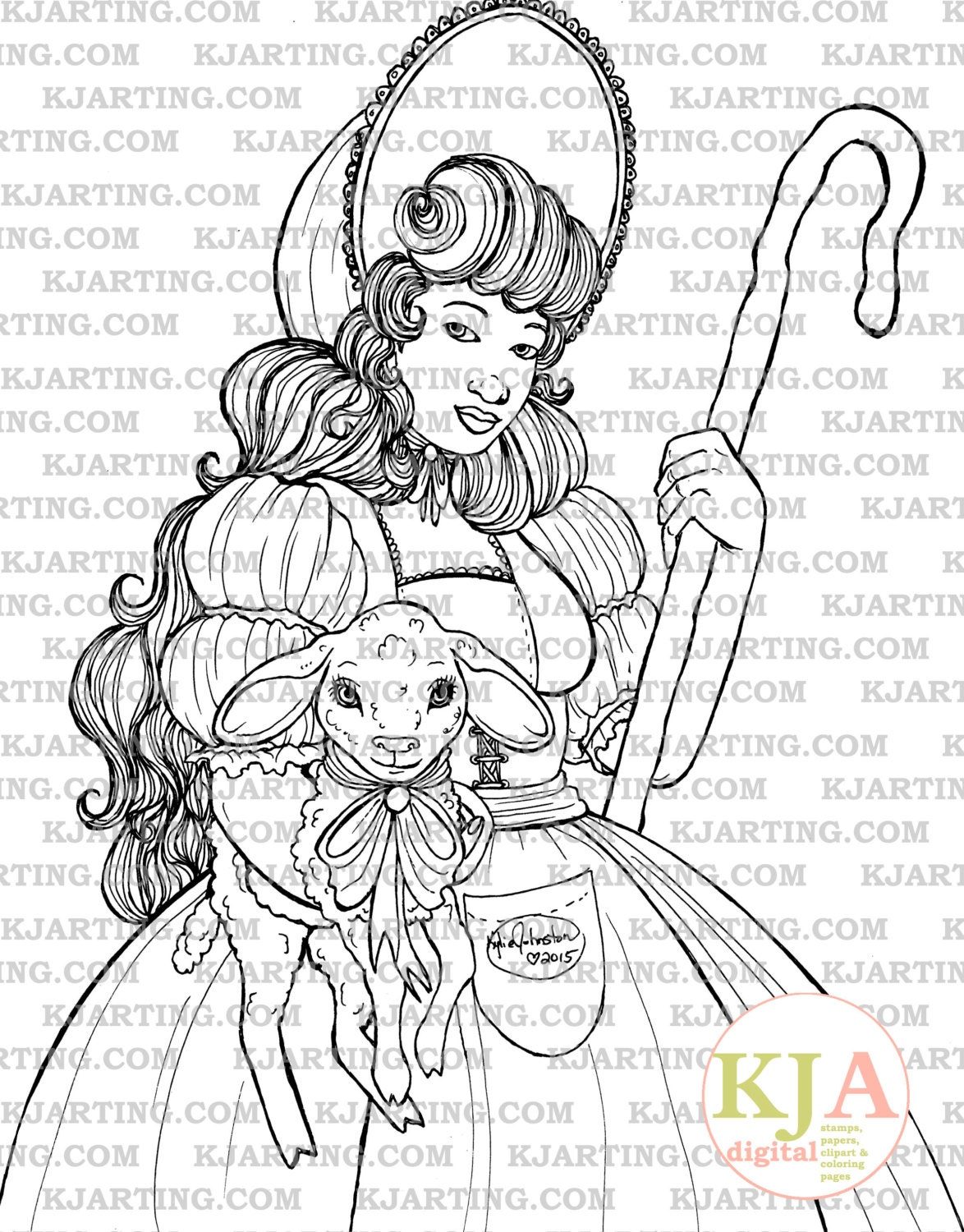 Modern Little Bo Peep Coloring Page Sketch - Framing Coloring Pages ...