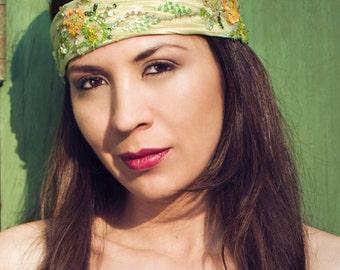 Green Vintage Lace headband