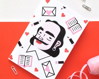SALE Shakespeare A5 notebook  / Hand-painted design / Illustration