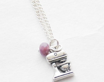 Birthstone Baking Necklace Baking Mixer Necklace Personalized Baker charm Jewelry Foodie Gift Personalized Birthstone Necklace Baking Gift