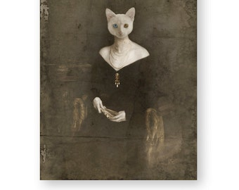 "Cat Art Print White Cat Animal Art Anthropomorphic Animals In Clothes Gothic Home Decor Creepy Art Mixed Media Collage (3 sizes) ""Morinda"""