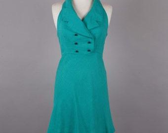 1970s jade halter neck vintage dress