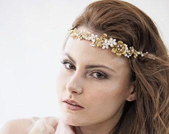 Bridal headband - Floral wedding crown, Gold wedding headpiece, Pearl tiara
