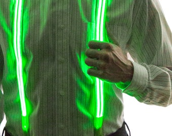 Light Up Stripe Suspenders, Glow in the Dark, Light Up, Rave Wear, Tron, Costume, LED