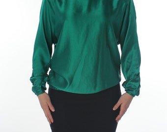 Flora Kung Emerald Green Silk Long Sleeve Vintage Blouse
