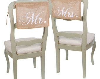 Mr. & Mrs. Burlap Chair Hangings   Wedding Chair Signs