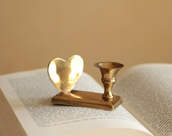 Vintage small brass candle holder with heart / petite wedding decor
