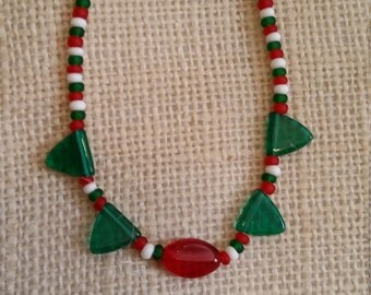 Christmas Necklace, Necklace, One OfA Kind Necklace, Gift, Beaded Necklace, Red, Green and White Necklace, Christmas Gift, Christmas Jewelry