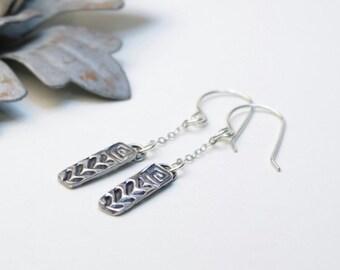 Rustic tribal earrings, dangle, chevron earrings, modern spiral earrings, fine silver dangle, handmade artisan jewelry, Shannon collection