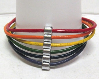 OOAK Hand Made Gay Pride Rainbow Leather 7 Inch Bracelet 01