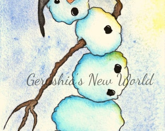 Finding Balance In The Sun - Salted Watercolor, Print, Snowman, Whimsical