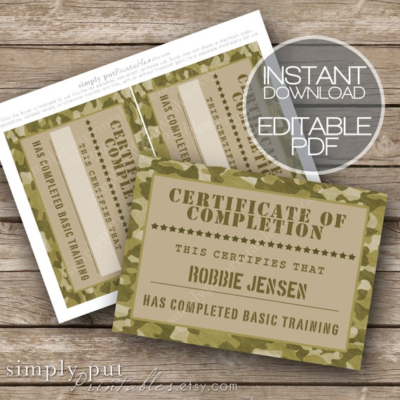 Army camo certificate of completion printable editable basic army camo certificate of completion printable editable basic training military party boot camp camouflage boys birthday digital file pronofoot35fo Choice Image