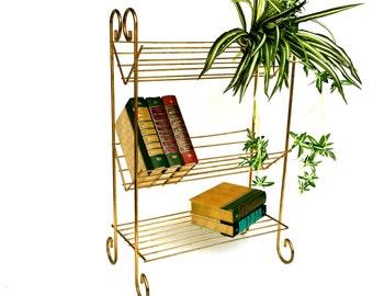 Mid-Century Gold Metal Book Shelf, Three Tiered Gold Metal Shelf,