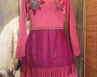 Dress-tunic T 40-42 in mesh and polar light orange and Red bordeaux