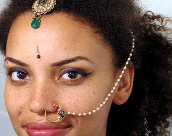 NR644 - Vintage Style Indian Nath Nose Ring Gold Plated - No Piercing Required -  India Ethnic Tribal Nose Accessory Hoop