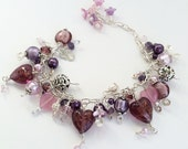 Pink Beaded Charm Bracelet,Cha Cha Bracelet,Silver & Pink Bracelet,Lampwork Bead Bracelet,Heart Bracelet,