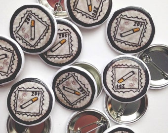 "Cigarette Stamp Pinback Button (1.25"")"