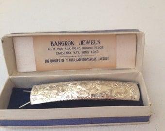 Vintage Sterling Silver Metal Ornate Hair Barrette 1930's  Hong Kong -original box - Wedding Gift