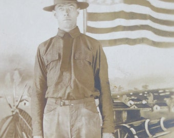 Vintage World War I Era 1910's Patriotic US Army Doughboy Soldier Real Photo Postcard - Free Shipping