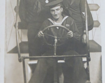 Humorous 1910's WW I American Sailors In Carnival Airplane RPPC Real Photo Postcard