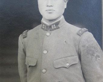 Original 1940's WW II Era Japanese Soldier In Uniform Snapshot Photograph War Souvenir - Free Shipping