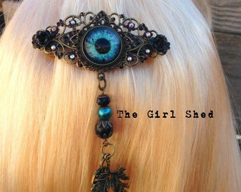 Owl's Eye Barrette-Blue