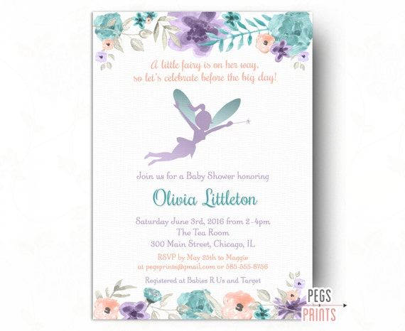 Fairy Baby Shower Invitation Whimsical Baby Shower