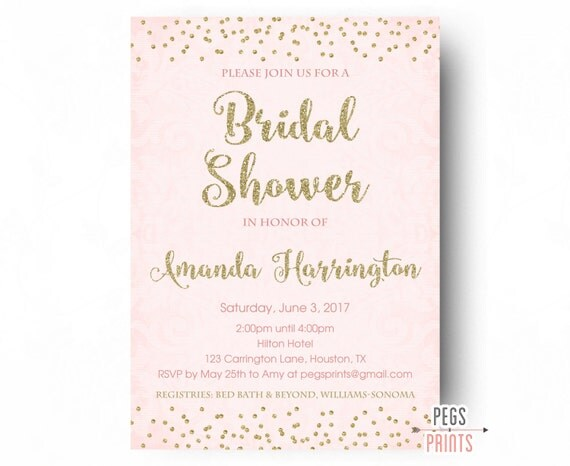 Gold and Pink Bridal Shower Invitation Gold Bridal Shower