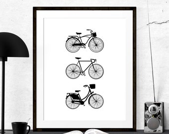 Bicycles Graphic Art, Bicycle Print, Bicycle Art, Printable Art, Cycling Bicycle Printable, Retro Bicycle Poster, Vintage Bicycle Bike Print