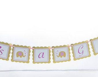 It's a Girl, Elephant Theme Baby Shower Banner.