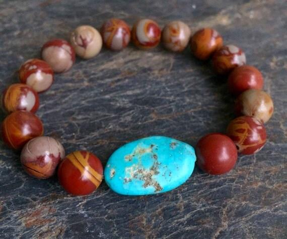 Stretch Wrist Mala Noreena Jasper and Turquoise Mala Bracelet, Root Chakra, Protection, Grounding