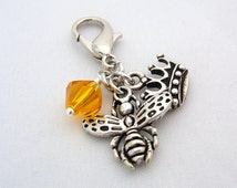 Queen Bee Purse Clip ~ Key Chain - Zipper Pull ~ Silver Crown & Bee Charms - 8mm Honey Yellow Crystal  bead - Lobster Clasp