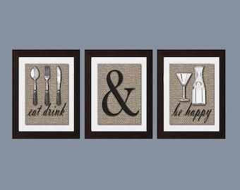 Eat Drink Be Happy Print, Shabby Chic Kitchen Wall Art, Shabby Chick Kitchen Decor, Rustic Decor, Modern Kitchen Wall Art, Kitchen Wall Art