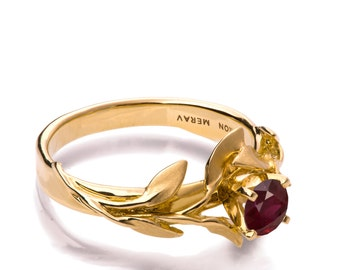 Leaves Engagement Ring No.4 - 18K Yellow Gold and Ruby engagement ring, unique engagement ring, leaf ring, antique, July Birthstone, Ruby
