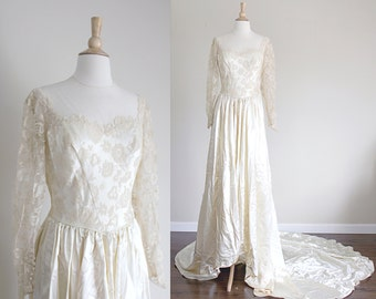 1940s Lace Wedding Dress | Satin Lace | Cathedral Train | Small