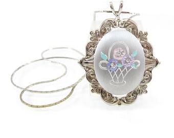 Vintage Flower Basket Pendant, Necklace, Brushed, Silver Tone, Pastel, Filigree