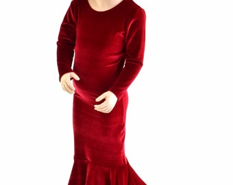 Girls Red Velvet La Muerta Puddle Train Dress Gown Halloween Costume Pagent Gown Sizes 2T 3T 4T and 5-12   152857