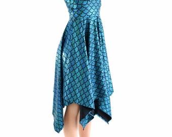 Turquoise Dragon Scale Handkerchief Hemline Halter Dress Mermaid Dress 152471