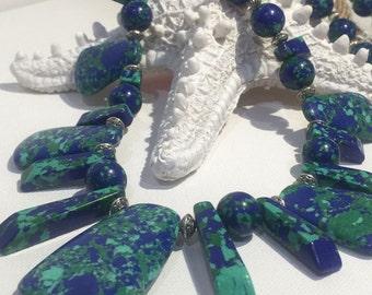 Chunky Lapis Lazuli Synthetic & Tibetan Silver Necklace