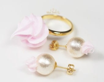 Whipped Cream accessory set / Ring & Earring