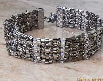 Metallic grey and crystal  beaded bracelet. Herringbone stich.
