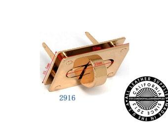 Gold Metal Rectangle Turn Lock, 50 mm x 35 mm Turn Lock, Metal Lock, (2916)