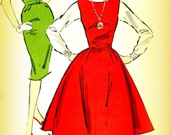 Advance 9188 Juniors Vintage 1950s Sewing Pattern Jumper And Wiggle Dress