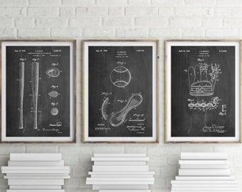 Baseball Patent Posters Group of 3, Baseball Decor, Baseball Coach, Baseball Bat, Sports Wall Art, PP1145