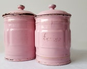 RESERVED for Federica 1930's French Kitchen CANISTERS SET of 2, pink and gold/ French enamelware/ French decor /French kitchen / Shabby chic